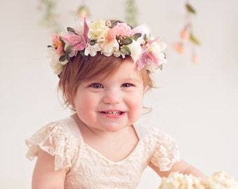 Butterfly Flower Crown, Flower Crown Halo, Baby Flower Crown, Floral Halo, Flower Girl Crown, Ivory and Coral Flower Crown, Butterfly Halo