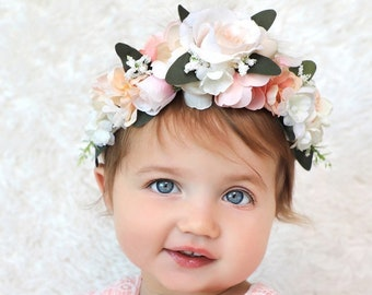 Flower Crown, Toddler Flower Crown,  Flower Crown, Tieback Flower Crown, Birthday Crown, Baby Flower Crown, First Birthday Crown