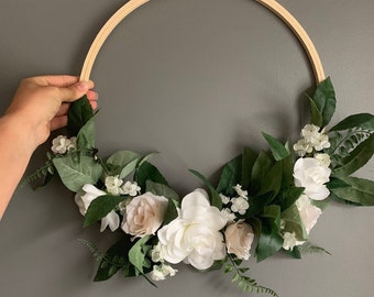 Customized Nursery Floral Wreath, Floral Wreath, Flower Hoop Wreath, Nursery Wall Decor,  Bridal Flower Hoop, Door Wreath, Wall Hanging