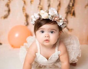 Flower Crown, Newborn Crown, Flower Crown Halo, Baby Flower Crown, Floral Halo, Flower Girl Crown, Pink Flower Crown, Bridal Halo