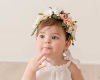 Tieback Flower Crown, Toddler Flower Crown, Newborn Flower Crown, Baby Photo Prop, Birthday Crown, Baby Flower Crown, Holiday Flower Crown