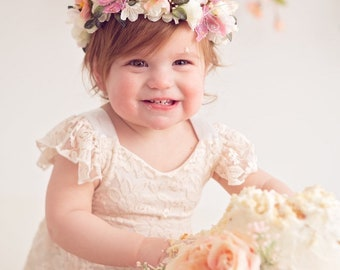 Flower Crown, Newborn Crown, Flower Crown Halo, Baby Flower Crown, Floral Halo, Flower Girl Crown, Ivory and Coral Flower Crown, Bridal Halo