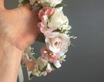 Flower Crown, Newborn Crown, Flower Crown Halo, Baby Flower Crown, Floral Halo, Flower Girl Crown, Ivory and Pink Flower Crown, Bridal Halo