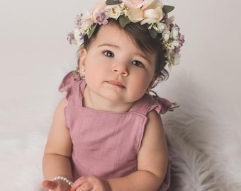 Flower Crown, Toddler Flower Crown, Newborn Flower Crown, Tieback Flower Crown, Birthday Crown, Baby Flower Crown, Pink Lavender Flowers