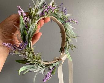 Tieback Halo Lavender Flower Crown Headband, Newborn Photo Prop, Tieback Flower Crown, Baby Flower Crown, Toddler Flower Crown, Flower Crown