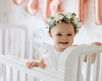 Flower Crown, Toddler Flower Crown, Newborn Flower Crown, Tieback Flower Crown, Birthday Crown, Baby Flower Crown, White Flower Crown