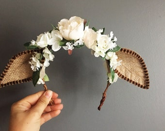 Deer Ears Flower Crown,  Floral Deer Crown, Baby Photo Prop, Flower Crown, Doe Flower Crown, Halloween, Deer Flower Headband,