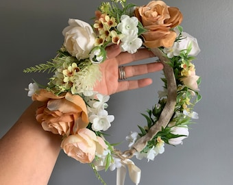 Ready to Ship Tieback Halo Flower Crown Headband, Tieback Flower Crown, Flower Crown, Halo Flower Crown, Floral Crown, Flower Crown Wedding