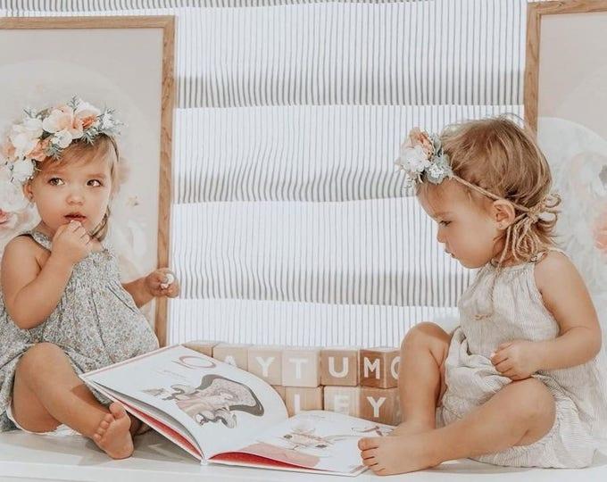 Featured listing image: Tieback Flower Crown, Toddler Flower Crown, Newborn Flower Crown, Baby Photo Prop, Birthday Crown, Baby Flower Crown, Holiday Flower Crown