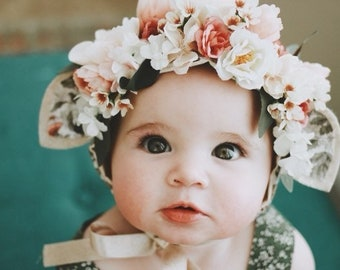 Flower Crown Bonnet with ears, Fawn Floral Bonnet, Baby Bonnet, Baby Flower Bonnet, Baby Photo Prop, Sitter Bonnet, Easter Bonnet,