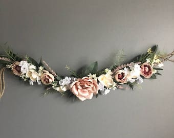 Flower garland, bohemian flower garland, letterboard garland, shower garland, floral wall hanging, chair garland, highchair banner, Nursery