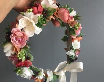 Tieback Halo Flower Crown Headband, Newborn Photo Prop, Tieback Flower Crown, Baby Flower Crown, Toddler Flower Crown, Flower Crown