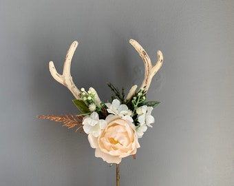 Antler Floral Cake Topper, First Birthday Props, Cake Topper, Flowers for Cake, Flower Cake Topper, Cake Smash Props, Antler Cake Topper