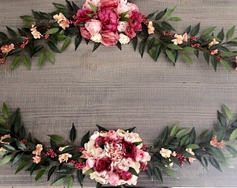 Flower garland, bohemian flower garland, name flower garland, garland, floral wall hanging, nursery decor, flower swag, floral garland