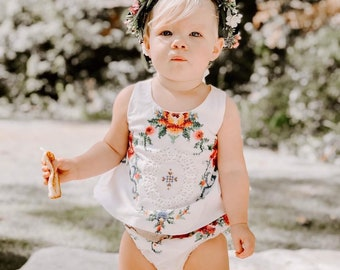 Tieback Halo Flower Crown Headband, Newborn Photo Prop, Tieback Flower Crown, Baby Flower Crown, Toddler Flower Crown, Flower Crown
