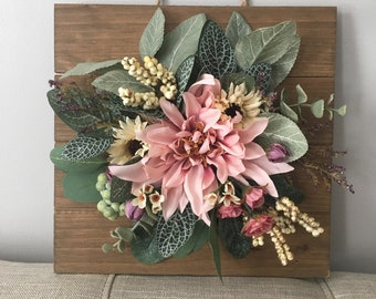 Ready to Ship Floral Wall Hanging,  Floral Nursery Wall Hanging, Flower Art, Nursery Wall Decor,  Wall Decor, Door Wreath, Wall Hanging