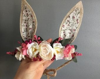 Woodland Bunny Flower Crown, Photo Prop, Baby Tieback Headband, Baby Flower Crown, Easter Flower Crown, Girls Flower Crown