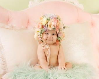 Flower Bonnet, Floral Bonnet, Baby Bonnet, Garden Fairy, Baby Photo Prop, Sitter Bonnet, Baby Flower Bonnet, Baby Hat