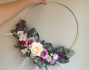 Ready To Ship Nursery Floral Wreath, Floral Wreath, Flower Hoop Wreath, Nursery Wall Decor,  Bridal Flower Hoop, Door Wreath, Wall Hanging