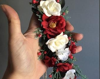 Tieback  Flower Crown Headband, Newborn Photo Prop, Tieback Flower Crown, Baby Flower Crown,  Flower Crown, Christmas Flower Crown