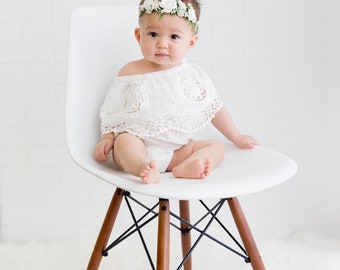 Flower Crown Headband, Newborn Flower Headband, Toddler Flower Headband, Baby Flower Headband, Photo Prop, Flower Girl, Baptism