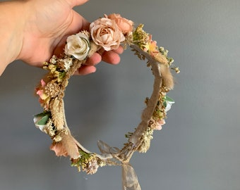 Dried Flower Crown, Newborn Crown, Flower Crown Halo, Baby Flower Crown, Dried Floral Halo, Flower Girl Crown, Boho Flower Crown, Bridal