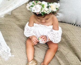 Flower Crown, Newborn Crown, Flower Crown Halo, Baby Flower Crown, Floral Halo, Flower Girl Crown, Ivory Flower Crown, Bridal Halo