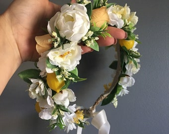 Flower Crown, Lemon Crown, Flower Crown Halo, Baby Flower Crown, Floral Halo, Lemon Flower Crown, Ivory and Yellow Flower Crown