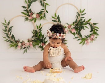 Floral Hoop Set with matching crown, Nursery Floral Wreath,  Flower Hoop Wreath, Nursery Wall Decor,  Bridal Flower Hoop, Photo Prop Wreath