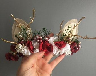 Woodland Deer Flower Crown with Antlers, Christmas Photo Prop, Tieback Headband, Baby Flower Crown, Newborn Headband, Girls Flower Crown