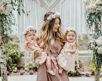 Mommy and Me flower crown set, Tieback Flower Crown Set, Mommy and Baby Tieback Flower Crown, Baby Flower Crown, Toddler Flower Crown