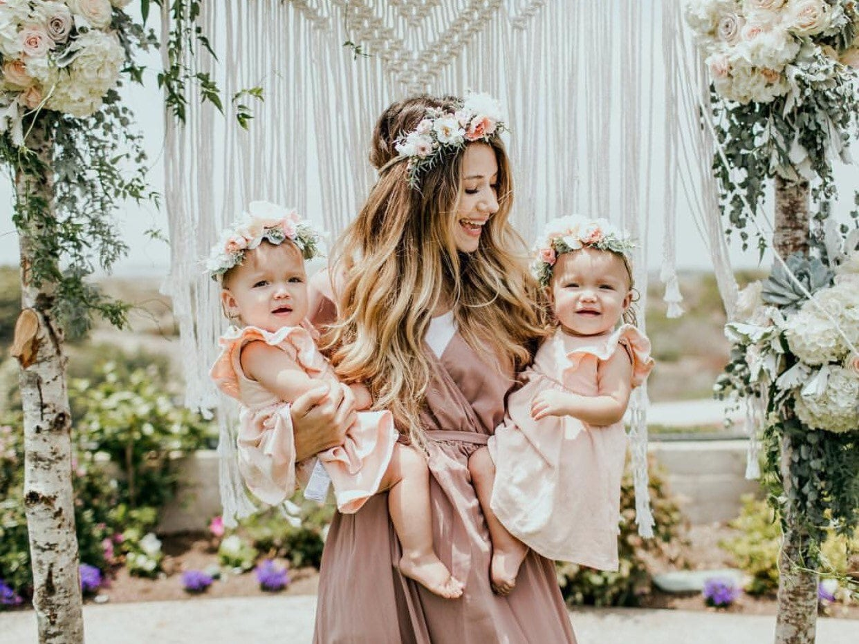Mommy And Me Flower Crown Set Newborn Photo Prop Baby Tieback