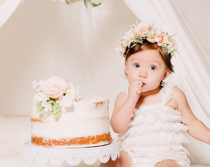 Featured listing image: Floral Party Package, First Birthday Props, Tieback Flower Crown, Highchair Garland, Cake Topper, Cake Smash Props, Flower Cake Topper