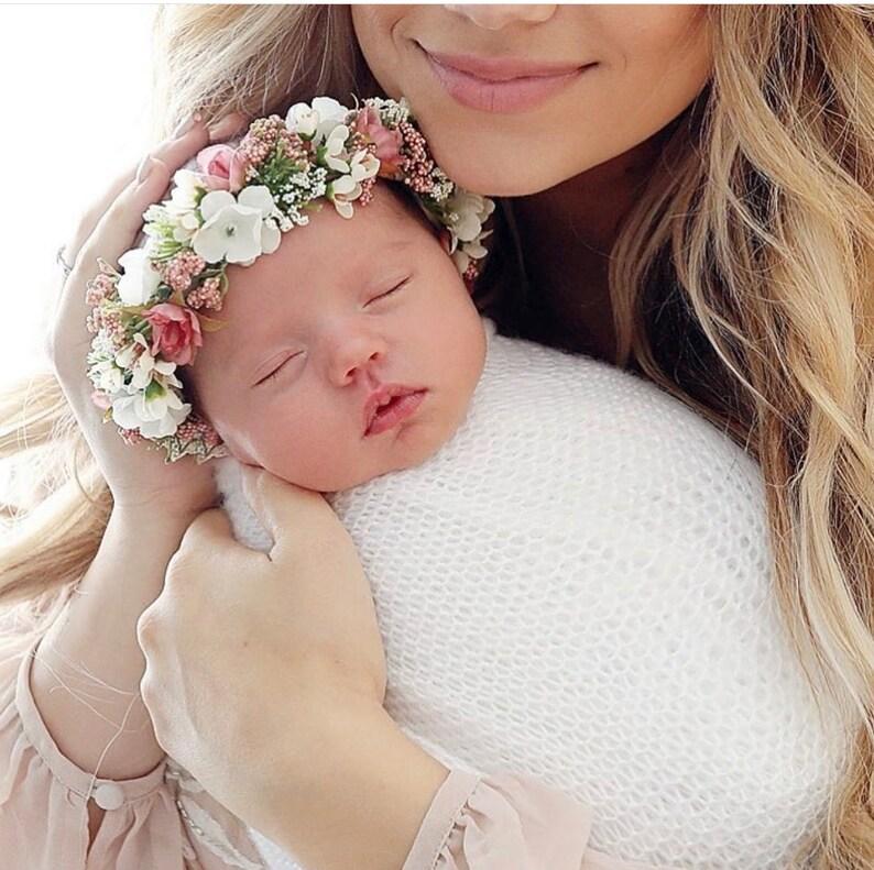 Flower Crown Newborn Crown Flower Crown Halo Baby Flower image 0