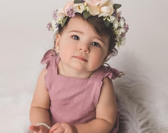 Flower Crown, Toddler Flower Crown, Newborn Flower Crown, Tieback Flower Crown, Birthday Crown, Baby Flower Crown, Pink Lavender Flowers