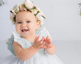 Flower Crown, Newborn Crown, Flower Crown Halo, Baby Flower Crown, Floral Halo, Flower Girl Crown, Pink Flower Crown, Bridal Halo