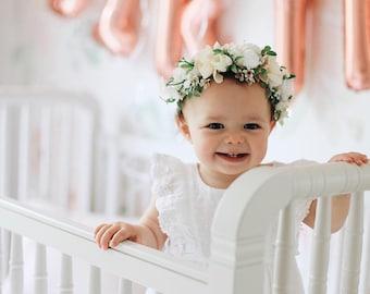 Flower Crown, Toddler Flower Crown, Newborn Flower Crown, Tieback Flower Crown, Birthday Crown, Baby Flower Crown, White Flower Crown