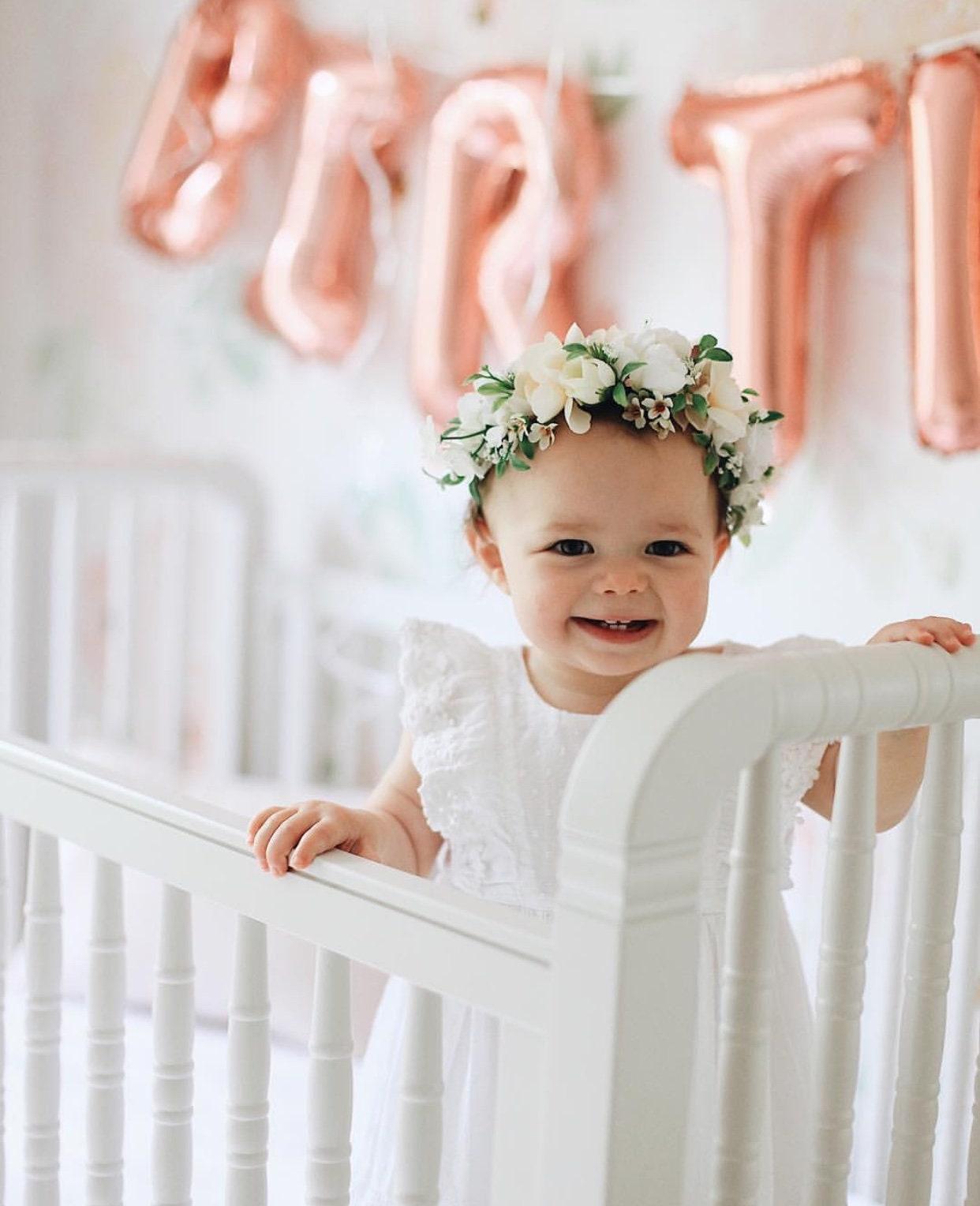 Tieback Flower Crown, Toddler Flower Crown, Newborn Flower ...