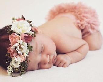 Flower Crown, Toddler Flower Crown, Newborn Flower Crown, Baby Photo Prop, Birthday Crown, Baby Flower Crown, Tieback Flower Crown