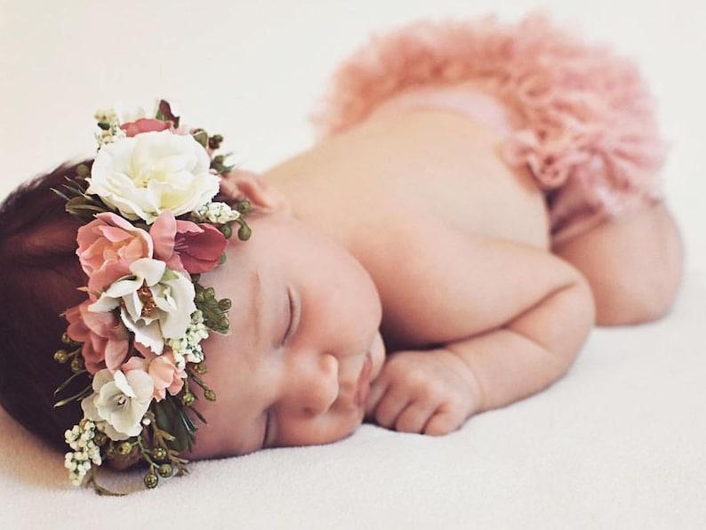 4d87cdc7277 Tieback Flower Crown Toddler Flower Crown Newborn Flower