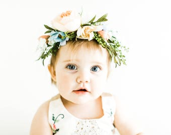 Tieback Flower Crown, Bridal Crown, Toddler Flower Crown, Woodland Fairy, Baby Photo Prop, Festival Crown, Birthday Girl, Baby Flower Crown