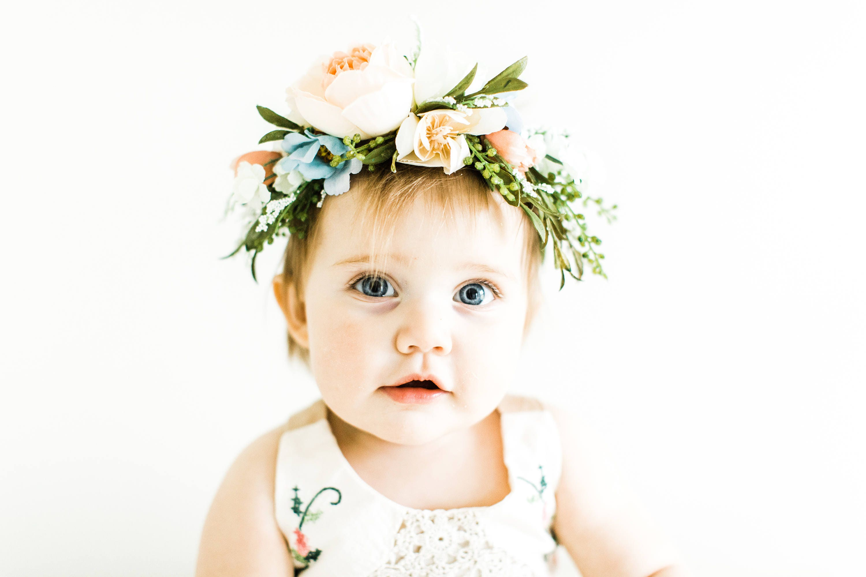 Tieback Flower Crown Bridal Crown Toddler Flower Crown Woodland