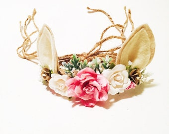 Woodland Deer Flower Crown, Photo Prop, Baby Tieback Headband, Baby Flower Crown, Newborn Headband, Girls Flower Crown, Forest Creature