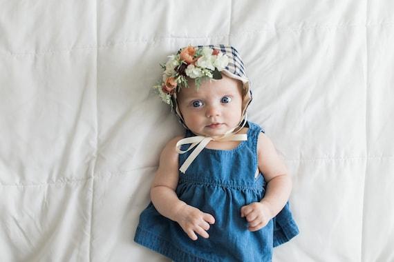 Bonnet Couronne De Fleur Floral Bonnet Bonnet Pour Bebe Etsy