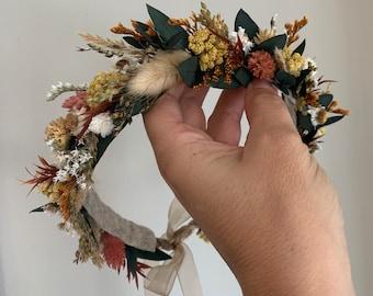 Dried Flower Crown, Newborn Crown, Flower Crown Halo, Baby Flower Crown, Dried Floral Halo, Flower Girl Crown, Boho Flower Crown, Bridal