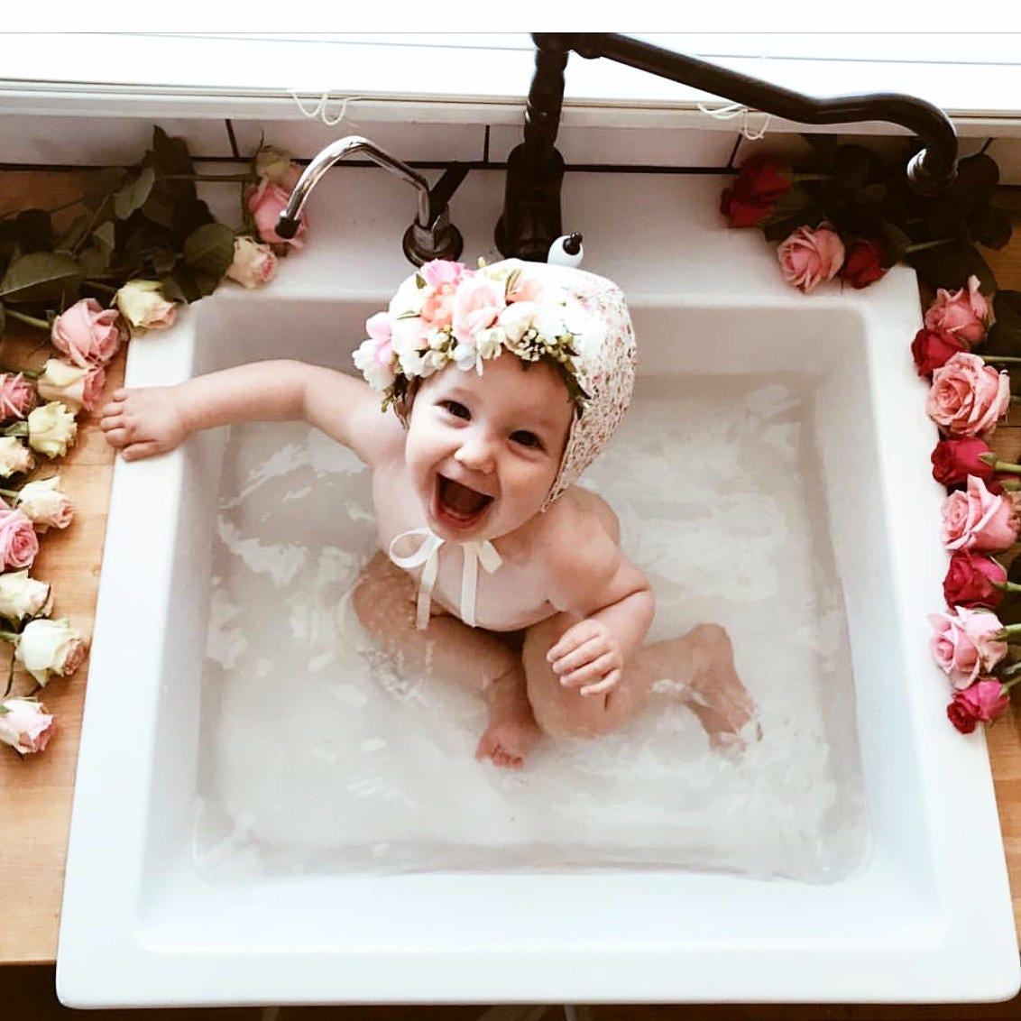 Flower Crown Bonnet Floral Bonnet Baby Bonnet Baby Flower Bonnet