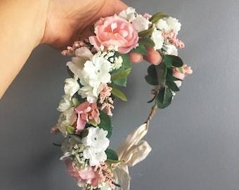 Flower Crown, Newborn Crown, Flower Halo, Baby Flower Crown, Floral Halo, Flower Girl Crown, Ivory and Pink Flower Crown, Bridal Halo