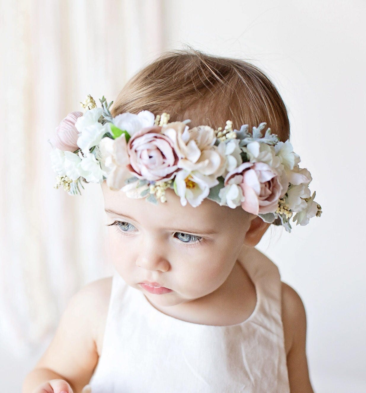 Tieback Halo Flower Crown Headband Newborn Photo Prop Tieback