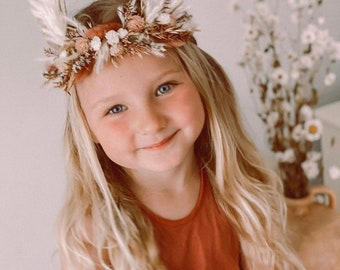 Pampas Ear Bunny Flower Crown, Photo Prop, Baby Tieback Bunny Crown, Baby Flower Crown, Newborn Headband, Dried Flower Crown, Easter Bunny