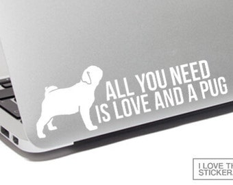 Pug lover gift, Pug decal, Pug sticker, Pug car decal, Pug laptop decal, Pug laptop sticker, Pug bumper sticker, Pug gift, Pug mom,Pug vinyl